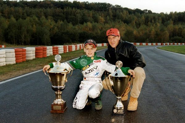 Az ifjú Sebastian Vettel és példaképe Michael Schumacher 1999-ben